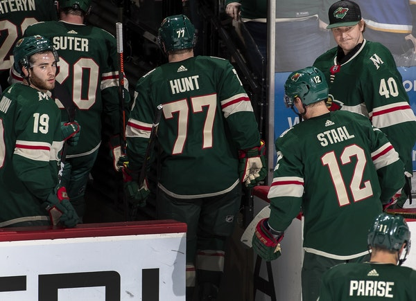 Minnesota Wild players headed to the locker room after getting shut out at home against the St. Louis Blues 4-0.