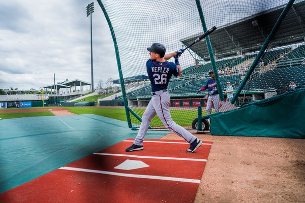 Twins outfielder Max Kepler took batting practice in Fort Myers last spring. Twins players officially report soon.