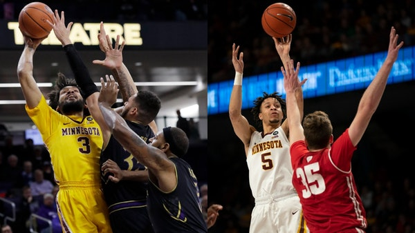 The Gophers' Jordan Murphy (left) and Amir Coffey were named to all-Big Ten basketball teams Monday. Murphy, a 6-7 senior forward, was named to the fi