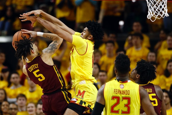 Gophers guard Amir Coffey struggled early against defense by the likes of Maryland forward Ricky Lindo Jr. but eventually finished with 23 points in a