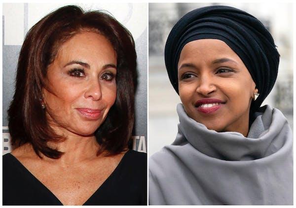 Fox News host Jeanine Pirro, left, and Rep. Ilhan Omar, D-Minn.