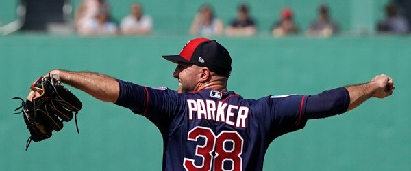 Twins righthander Blake Parker, pitching last month, is known for an unusual, twitchy windup.
