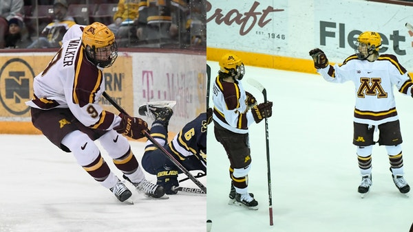 Two Gophers hockey forwards were awarded Big Ten Conference postseason honors Tuesday. Sammy Walker is the league's freshman of the year; Pitlick made