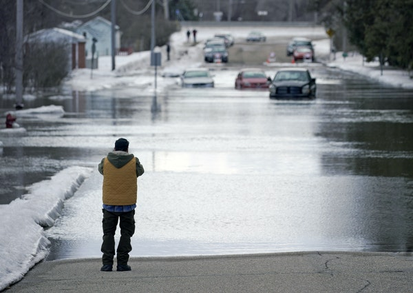 The Sand Creek in Jordan has flooded its banks due to a large ice jam and cut off access to the Valley Green Trailer Park. This was the view of Syndic