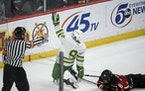 Edina forward Peter Colby celebrated his go-ahead goal against Eden Prairie in the third period of the Class 2A boys' hockey tournament title game Sat