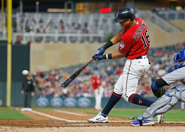 Ehire Adrianza hit a two-run single off Kansas City pitcher Heath Fillmyer last September, when the switch hitter had to resort to giving up hitting r