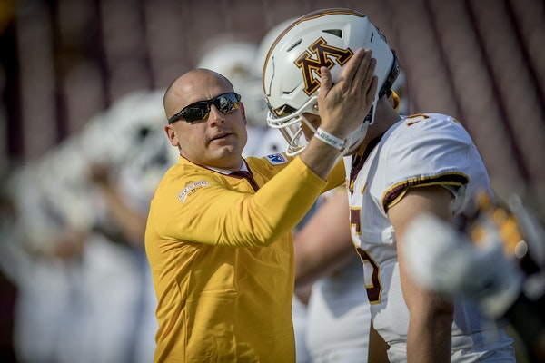 Gophers coach P. J. Fleck greeted then-freshman quarterback Zack Annexstad before last year's game against New Mexico State.