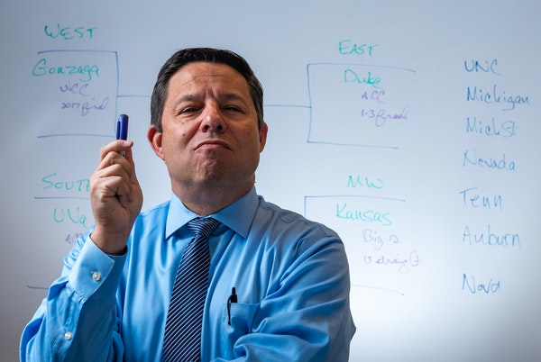 Joe Lunardi wears many hats in his life, but to college basketball fans he's Joey Brackets, projector of the NCAA tournament field.