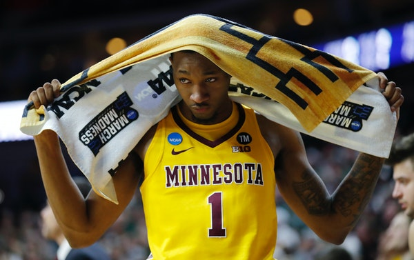 Minnesota guard Dupree McBrayer reacts on the bench at the end of a second round loss against Michigan State
