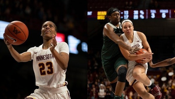 Gophers guard Kenisha Bell (23) and Destiny Pitts helped Minnesota into the WNIT second round.