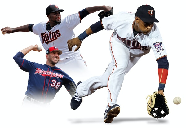 (From left) Reliever Blake Parker, starter Michael Pineda and shortstop Jorge Polanco all could play pivotal roles in the Twins' 2019 season.