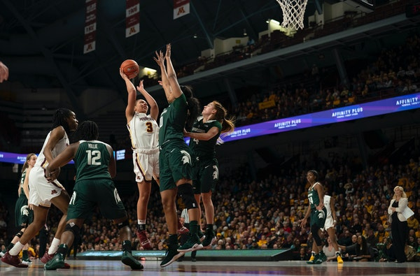 Guard Destiny Pitts (3) scored a game-high 26 points to lead the Gophers women's basketball team over Michigan State 81-63 at Williams Arena on Sunday