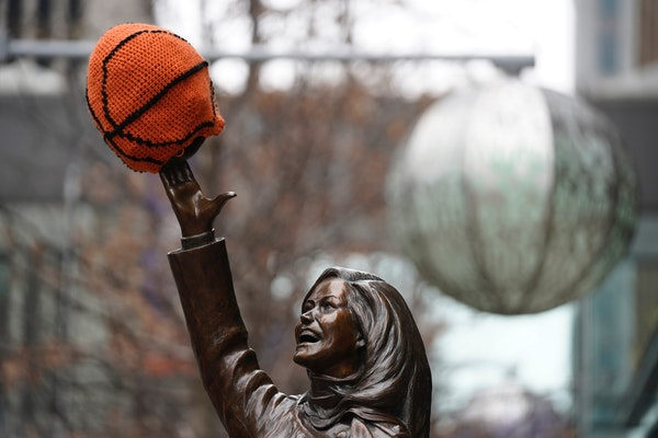 The Mary Tyler Moore statue is decorated for the Final Four outside the Tip-Off Tailgate on Nicollet Mall in downtown Minneapolis.
