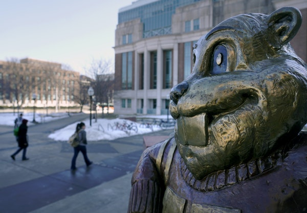 """There are two lucky (or unlucky) charms at the University of Minnesota: the Goldy Gopher statue at Coffman Union (above) and the """"Platonic Figure"""""""