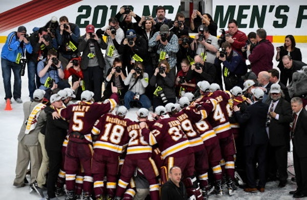 Minnesota Duluth players celebrated their 2018 NCAA championship at Xcel Energy Center. Will the Bulldogs repeat in Buffalo? One player will have a lo