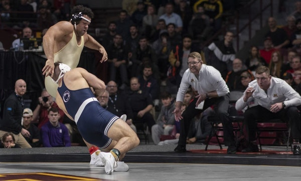 Penn State's Anthony Cassar scored on a take down over Minnesota's Gable Steveson during the Big Ten Championships at Williams Arena earlier this mont