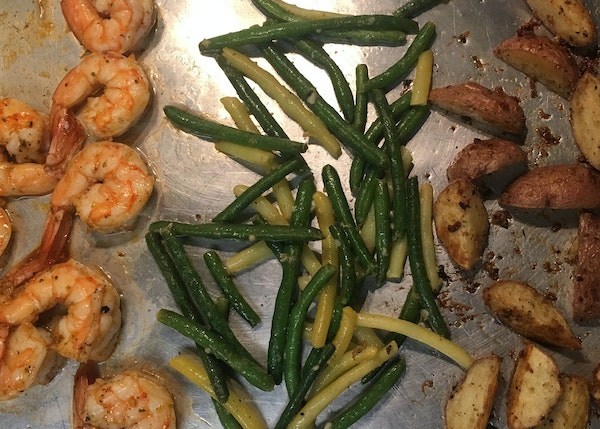 This sheet-pan dinner includes shrimp, green beans and potatoes. Photo by Susan Selasky • Detroit Free Press
