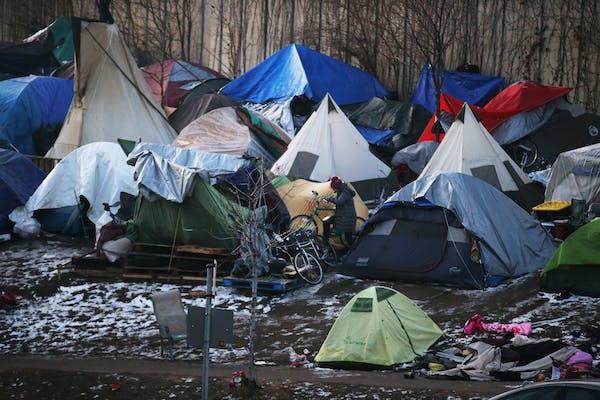 The homeless encampment near Hiawatha and Cedar avenues in Minneapolis in November.