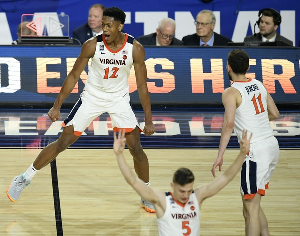 Virginia guard De'Andre Hunter entered into the college basketball history books Monday night at U.S. Bank Stadium in Minneapolis.