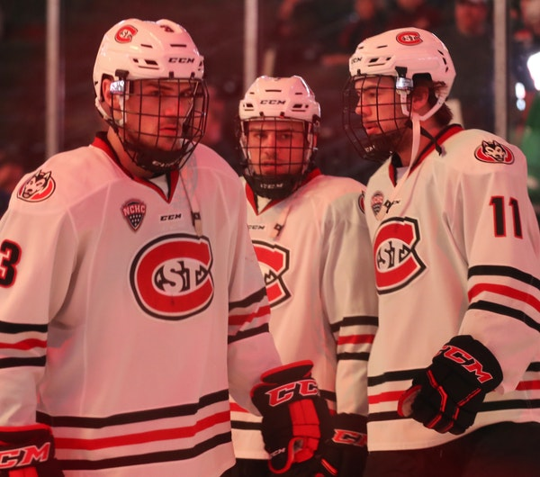 Brothers Jack (3), Nick (center) and Ryan (11) Poehling have combined for 24 goals and 42 assists for St. Cloud State.