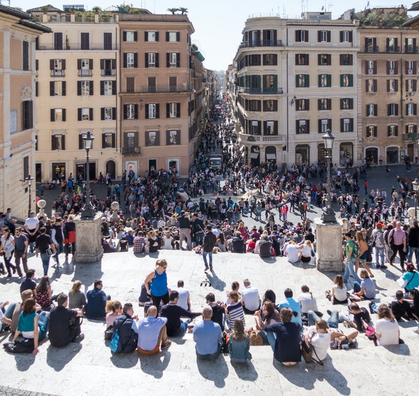 In Rome, tourists gathered on the popular Spanish Steps. Rome is the most visited city in Italy.