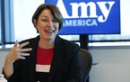 Democratic presidential candidate Amy Klobuchar speaks during a roundtable discussion on health care, Tuesday, April 16, 2019, in Miami. Klobuchar met