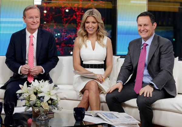 """""""Fox & Friends"""" weekday co-hosts (from left) Steve Doocy, Ainsley Earhardt and Brian Kilmeade know what their audience wants. Roughly 1.5 million"""