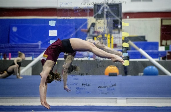 Gophers gymnast Lexy Ramler practiced earlier this month.