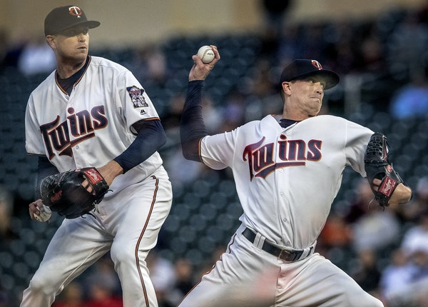 A double exposure of Twins starting pitcher Kyle Gibson in the fourth inning Tuesday at Target Field.