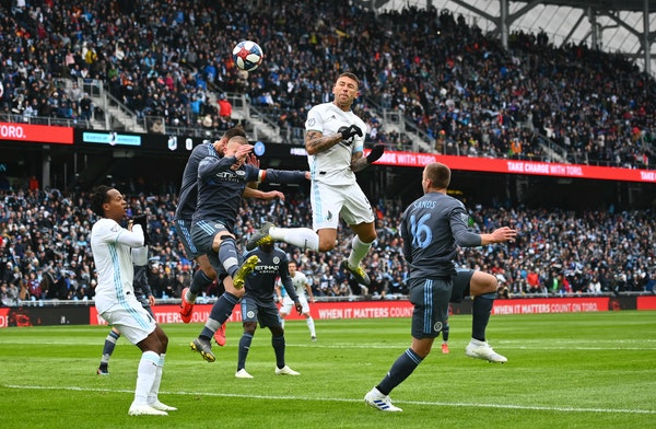 Minnesota United defender Francisco Calvo jumped for a header in the first half off a corner kick against New York City.