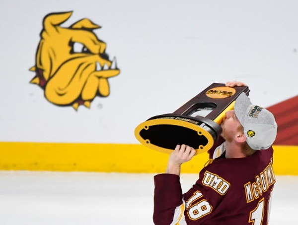 Minnesota Duluth defenseman Nick McCormack celebrated the Bulldogs' 2018 NCAA championship at Xcel Energy Center.