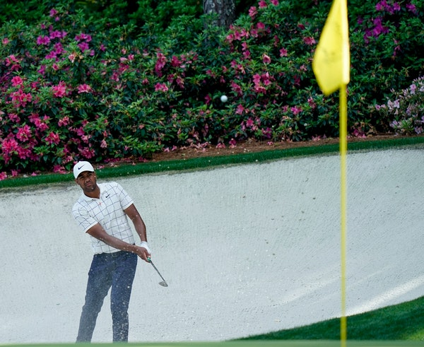 Tony Finau hits to the 13th hole during the third round for the Masters