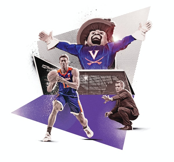 Inline illustration for the 2019 NCAA Men's Final Four basketball tournament that is being held in Minneapolis. Element includes coach Tony Bennett,