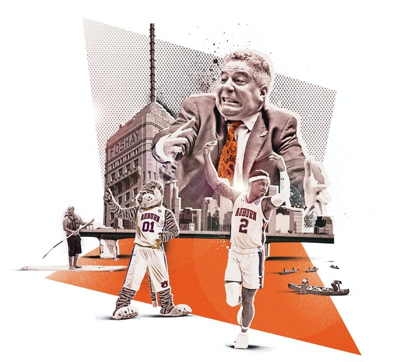 Inline illustration for the 2019 NCAA Men's Final Four basketball tournament that is being held in Minneapolis. Element includes coach Bruce Pearl,