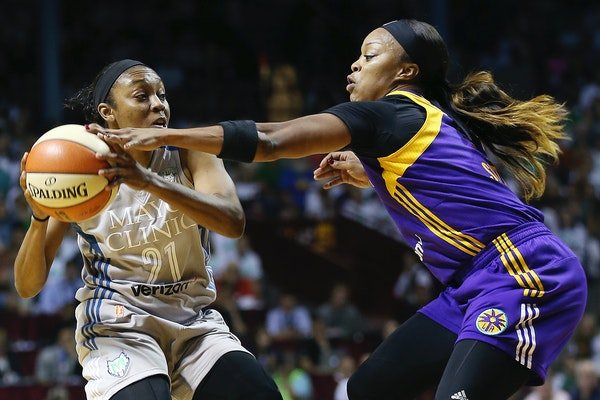 The Lynx acquired guard Odyssey Sims, right, from the Los Angeles Sparks on Monday in a trade for guard Alexis Jones. Sims should vie for major minute