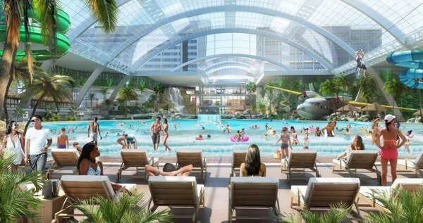 A rendering of a proposed water park adjoining the Mall of America.