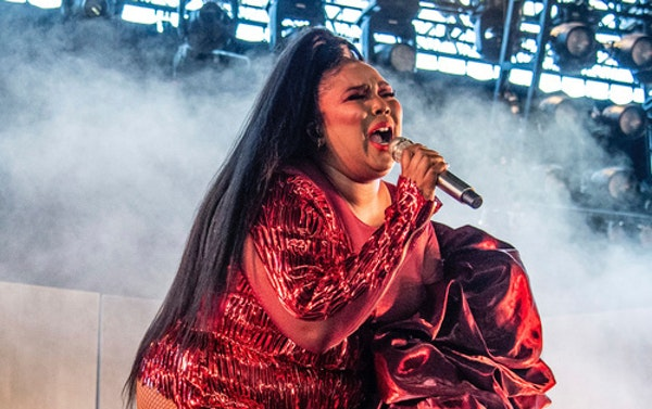 Lizzo performs at the Coachella Music & Arts Festival at the Empire Polo Club on Sunday, April 21, 2019, in Indio, Calif.
