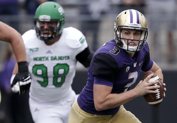 Jake Browning (3) will be looking for a job backing up Vikings quarterback Kirk Cousins.
