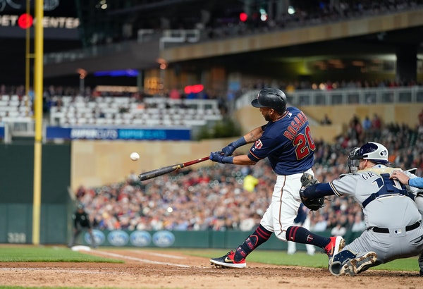 Twins left fielder Eddie Rosario hit a home run in the seventh inning.