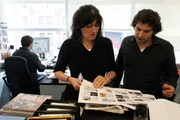 Ruth Reichl, left, of Gourmet magazine in the office in New York in 2004. She led the magazine for 10 years before it shut down.