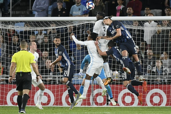 Changes in Minnesota United's back line plugged leaks the past two games, including keeping the L.A. Galaxy's Zlatan Ibrahimovic, right, in check