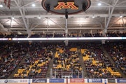 Fans sat in the stands during the third period Friday night during the Gophers men's hockey game against the Penn State Nittany Lions. The announced a