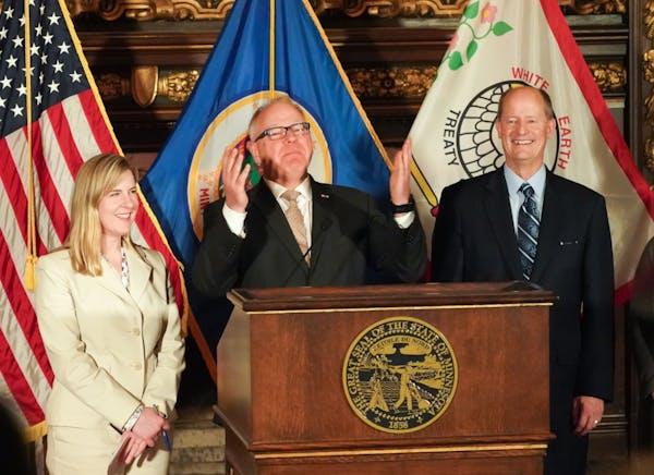 Minnesota Gov. Tim Walz, Senate Majority Leader Paul Gazelka and House Speaker Melissa Hortman at a Sunday news conference announcing the budget agree