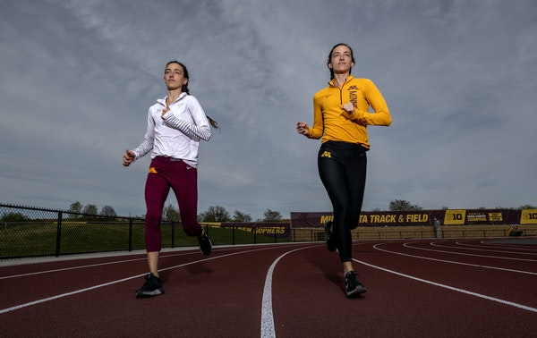 Gophers distance runners Megan (left) and Bethany (right) Hasz.