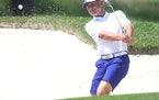 Minnetonka's Gunnar Broin hit out of a sand trap in the 2018 Minnesota State Amateur. Broin recently shot a 9-under-par 63 at Pioneer Creek G.C. in Ma