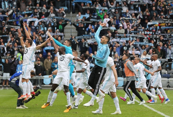 """Minnesota United players gave proper reverence to Oasis' """"Wonderwall"""" after defeating D.C. United for the team's first victory at Allianz Fiel"""