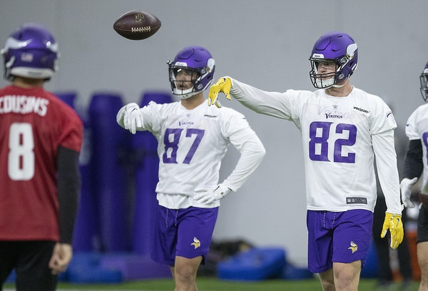 Kyle Rudolph participated in a Vikings OTA on Wednesday.