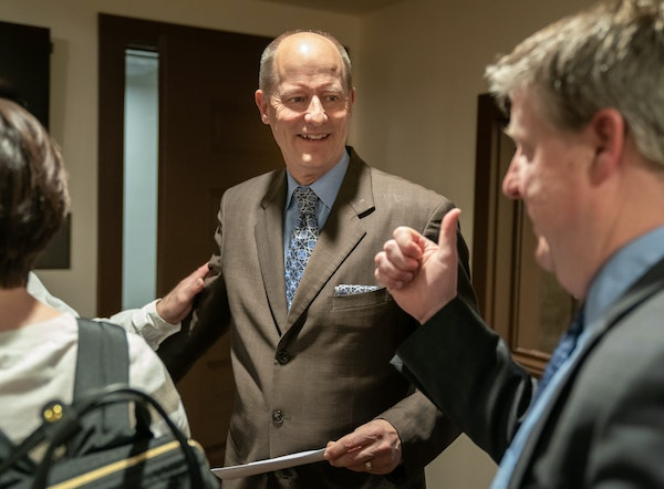 Senate Majority Leader Paul Gazelka was gently nudged out of the news conference room after the conversation turned from upcoming Senate bills to what