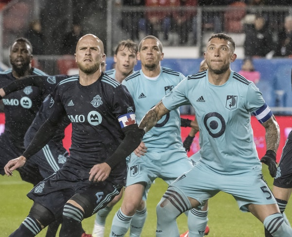 Francisco Calvo (right), playing for the Loons in Toronto in April, will be in a Chicago Fire kit against them Saturday night.