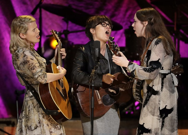 The trio I'm With Her performs at the Americana Honors and Awards show, Wednesday, Sept. 12, 2018, in Nashville, Tenn. From left are Aoife O'Donovan,